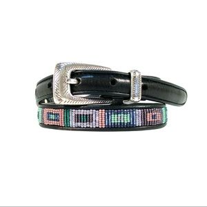 BRIGHTON Geometric Beaded Western Leather Belt